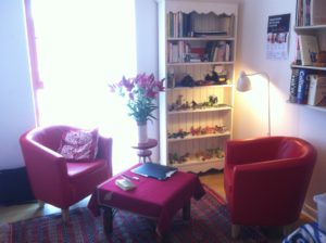 armchairs and shelves